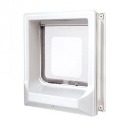 Drzwiczki dla kota z czterofunkcyjnym magnetycznym systemem zamykania do drzwi drewnianych Biały ZOLUX